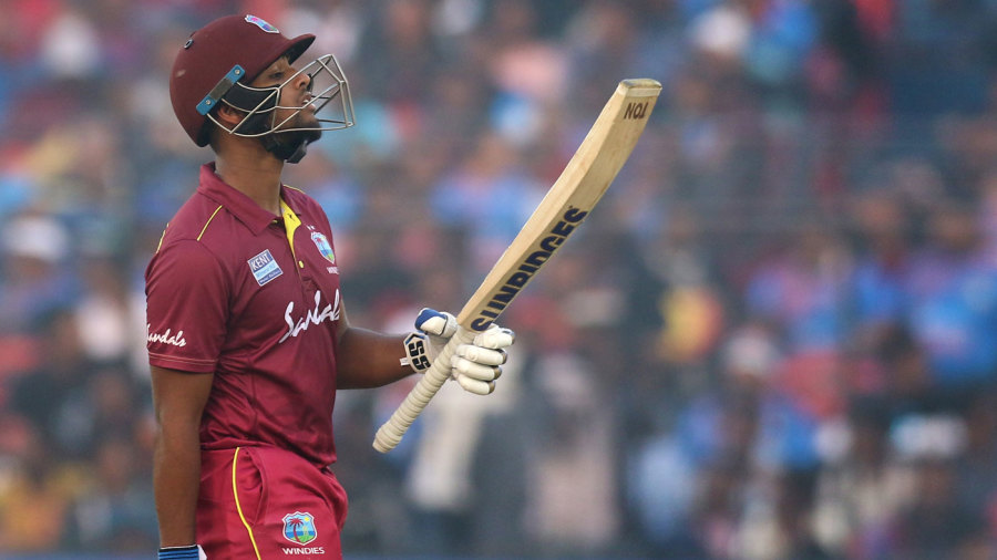 Nicholas Pooran celebrates his fifty