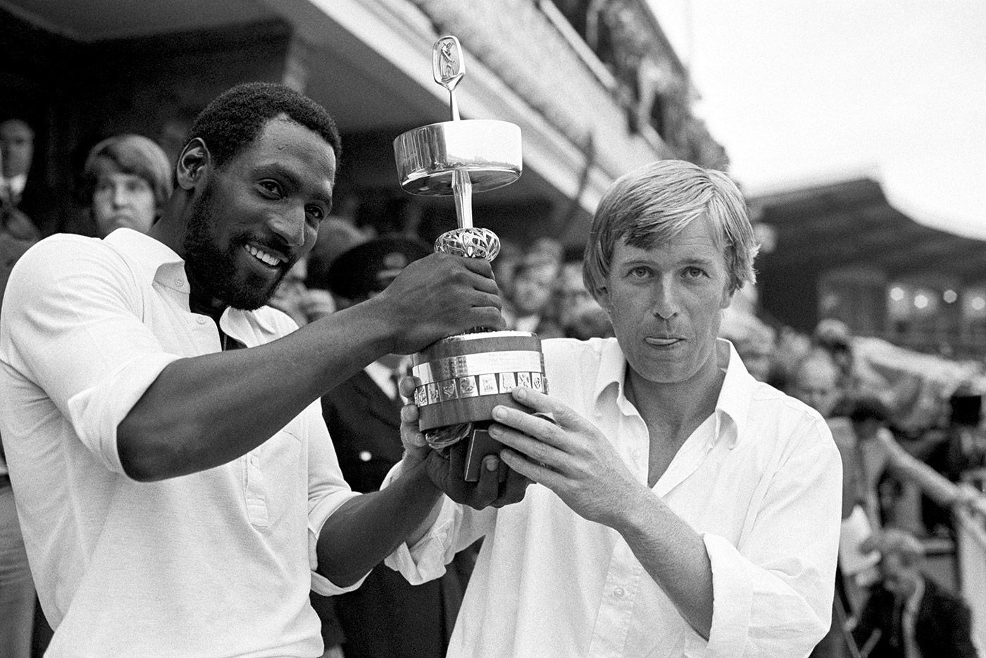 Got the silver: Richards and Somerset captain Brian Rose hold aloft the Gillette Cup in 1979