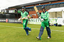 Paul Stirling and James McCollum walk out to bat at the Civil Service ground in Stormont, Ireland v Afghanistan, 1st ODI, Belfast, May 19, 2019