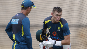 Marnus Labuschagne discusses his batting with Justin Langer