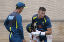 Marnus Labuschagne discusses his batting with Justin Langer, Melbourne, December 25, 2019
