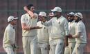 Ishant Sharma celebrates a wicket with team-mates, Delhi v Hyderabad, Ranji Trophy 2019-20, Group A, Delhi, 2nd day, December 26, 2019