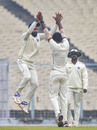 Hanuma Vihari goes up in celebration with KV Sasikanth, Bengal v Andhra, Ranji Trophy 2019-20, Group A, Kolkata, 2nd day, December 26, 2019
