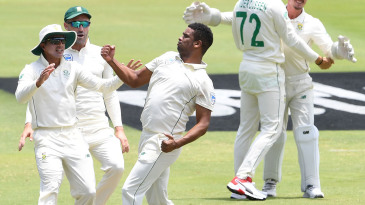 Vernon Philander celebrates the wicket of Joe Root