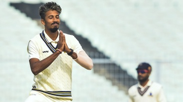 Ishan Porel celebrates a wicket