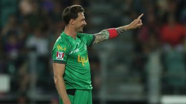 Dale Steyn celebrates the wicket of his compatriot David Miller