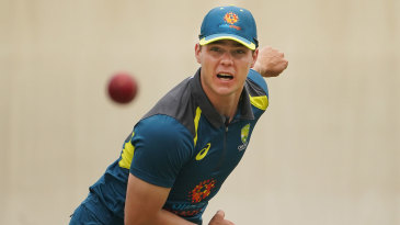 Mitchell Swepson bowls during training