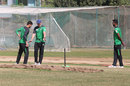Nantie Hayward works with a bowler in the nets