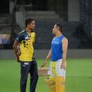 R Sai Kishore is all ears during a chat with MS Dhoni at the Chennai Super Kings nets