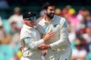 Tom Latham and William Somerville celebrate a wicket, Australia v New Zealand, 3rd Test, Sydney, 2nd day, January 4, 2020