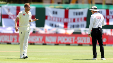 Stuart Broad was denied a wicket after replays showed he had overstepped