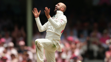 Nathan Lyon roars after getting an lbw