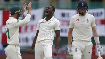 Kagiso Rabada enjoyed the wicket of Zak Crawley