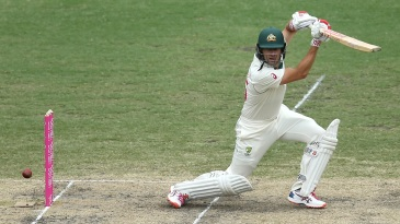 Joe Burns plays square of the wicket