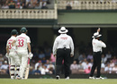 Aleem Dar signals five penalty runs to New Zealand for David Warner and Marnus Labuschagne running on the pitch, Australia v New Zealand, 3rd Test, Sydney, 4th day, January 6, 2020