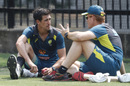 Andrew McDonald chats with Mitchell Starc, Melbourne, December 23, 2019