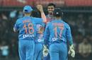 Washington Sundar celebrates a wicket, India v Sri Lanka, 2nd T20I, Indore, January 7, 2020