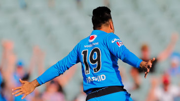 Rashid Khan celebrates his hat-trick