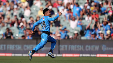 Rashid Khan races off after claiming his hat-trick
