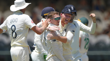 Dom Bess celebrates the wicket of Faf du Plessis