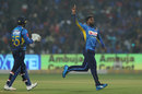 Wanindu Hasaranga is overjoyed after picking a wicket, India v Sri Lanka, 3rd T20I, Pune