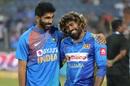 Jasprit Bumrah and Lasith Malinga share a light moment after the game, India v Sri Lanka, 3rd T20I, Pune, January 10, 2020