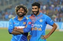 Lasith Malinga and Jasprit Bumrah share a smile after the game, India v Sri Lanka, 3rd T20I, Pune, January 10, 2020
