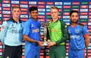 George Balderson, Priyam Garg, Bryce Parsons and Farhan Zakhil pose with the 2020 U-19 World Cup trophy, Pretoria, January 10, 2020