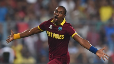 Dwayne Bravo takes off in celebration