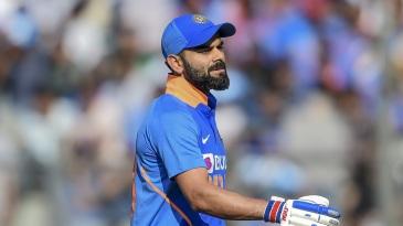 Virat Kohli reacts to his dismissal