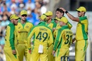 Pat Cummins is congratulated by Mitchell Starc for a wicket, India v Australia, 1st ODI, Mumbai, January 14, 2020
