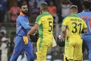 Virat Kohli congratulates Aaron Finch and David Warner, India v Australia, 1st ODI, Mumbai, January 14, 2020