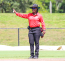 Umpire Jacqueline Williams signals a no ball while standing in her first men's ODI series, USA v Papua New Guinea, Cricket World Cup League Two tri-series, Lauderhill, September 19, 2019