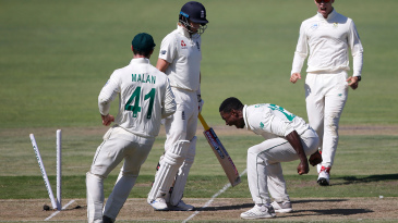 Kagiso Rabada roars in celebration after bowling Joe Root