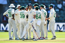 South Africa celebrate the wicket of Joe Denly, South Africa v England, 3rd Test, Port Elizabeth, Day 1, January 16, 2020