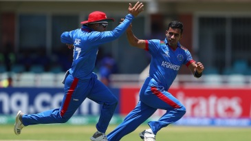 Shafiqullah Ghafari takes off in celebration