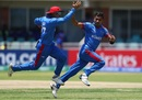 Shafiqullah Ghafari takes off in celebration, South Africa under-19 v Afghanistan under-19, ICC Under-19 World Cup, Kimberley, January 17, 2020