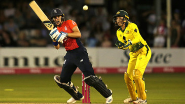 Natalie Sciver plays a shot during 1st Ashes T20I of 2019