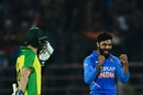 Ravindra Jadeja celebrates, India v Australia, 2nd ODI, Rajkot, January 17, 2020