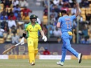Mohammed Shami celebrates the wicket of David Warner, India v Australia, 3rd ODI, Bengaluru, January 19, 2020