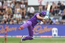 David Miller falls over as he tries to play a shot, Hobart Hurricanes v Adelaide Strikers, BBL 2019-20, Launceston, January 19, 2020