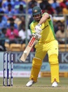 Aaron Finch drives one through cover, India v Australia, 3rd ODI, Bengaluru, January 19, 2020