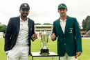 Dimuth Karunaratne and Sean Williams with the series trophy, Zimbabwe v Sri Lanka, 1st Test, Harare, 1st day, January 19, 2020
