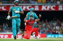 Dan Christian wins an lbw against Ben Cutting, Brisbane Heat v Melbourne Renegades, Big Bash League 2019-20, Brisbane, January 19, 2020