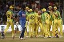 Ashton Agar is joined by the Australian team in celebrating KL Rahul's wicket, India v Australia, 3rd ODI, Bengaluru, January 19, 2020