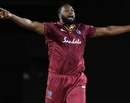 Kieron Pollard celebrates after denting Ireland, West Indies v Ireland, 3rd T20I, St Kitts, January 19, 2020