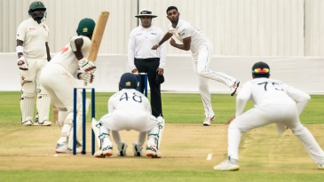 Lasith Embuldeniya tosses one up