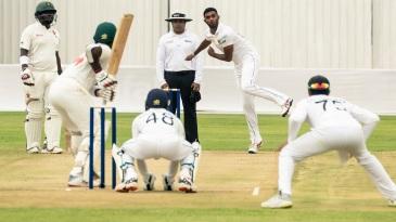 Lasith Embuldeniya tosses one up