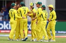 Tanveer Sangha is mobbed by his team-mates, Australia v Nigeria, Under-19 World Cup 2020, Kimberley, January 20, 2020