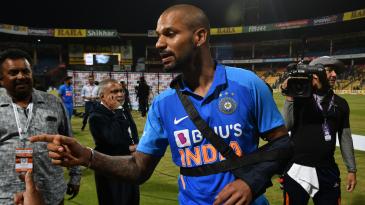 Shikhar Dhawan injured his shoulder during the third ODI